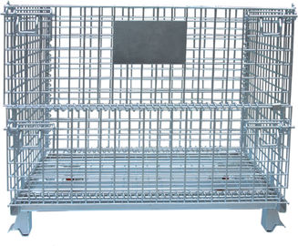 China Warehouse Foldable Wire Container , 4 Gauge Wire Mesh Pallet Containers factory