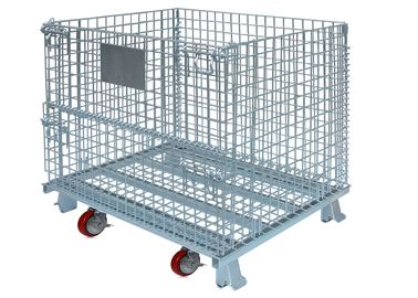 China High Strength Collapsible Wire Container With Casters Set Metal Mesh Storage Bin factory