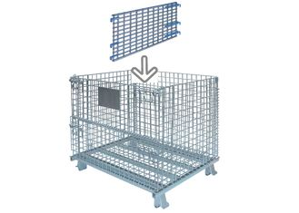 Heavy Duty Collapsible Wire Container Horizontal Full Divider BN6150108 Silver Color