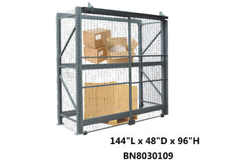 All Steel Wide Open Sliding Pallet Rack Security Enclosure For Inventory Secure System
