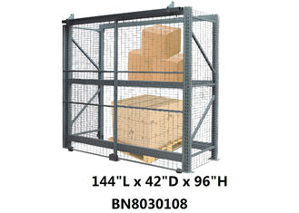 Theft Preventing Pallet Rack Security Enclosure 12' Long 42 Inch Deep 8' High