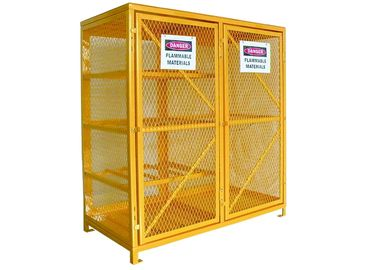 China Vented Gas  Cylinder Storage Cabinets 8 Horizontal 9 Vertical 5 Shelves Yellow Color factory