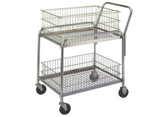 "Silver Rolling Mail Cart 30""L X 23""W X 38""H Chrome Finish 18 Gauge Steel"