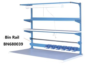 Blue Industrial Work Benches Storage Bin Rails For Increasing Efficiency 48""