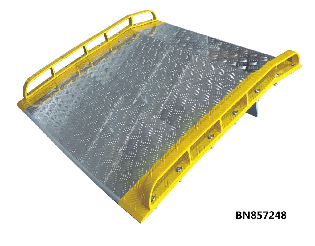 Extra 72 Inch Wide Aluminum Dock Plate With Full Length Orange Painted Steel Curbs supplier