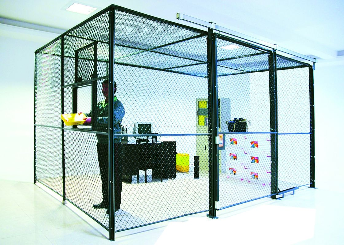 2 Sides Wire Mesh Security Partitions Lockable Storage Cages Powder Coated supplier