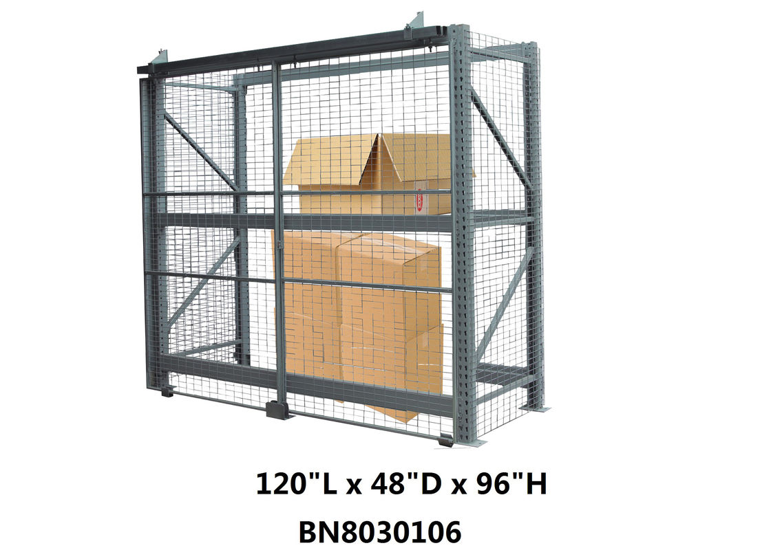 Heavy Duty Steel Pallet Rack Security Cage Systems 10'*4' *8' High Sliding Door Type supplier