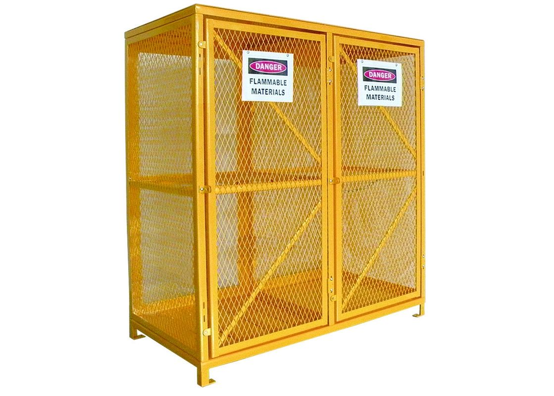 Expanded Metal Oxygen Cylinder Storage Cages , Twin Door Gas Can Storage Cabinet supplier