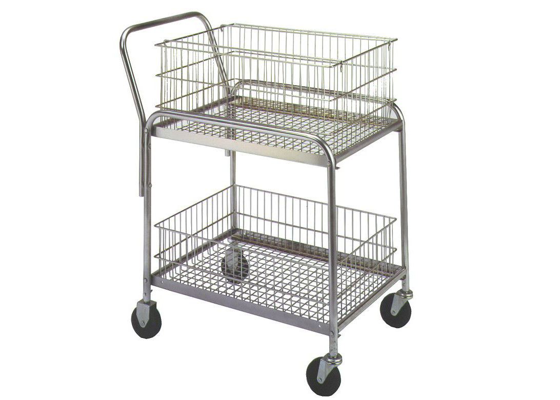 "33""L X 20""W X 37-1/2"" Rolling Mail Cart 200 Lb Load Capacity Removable Baskets supplier"