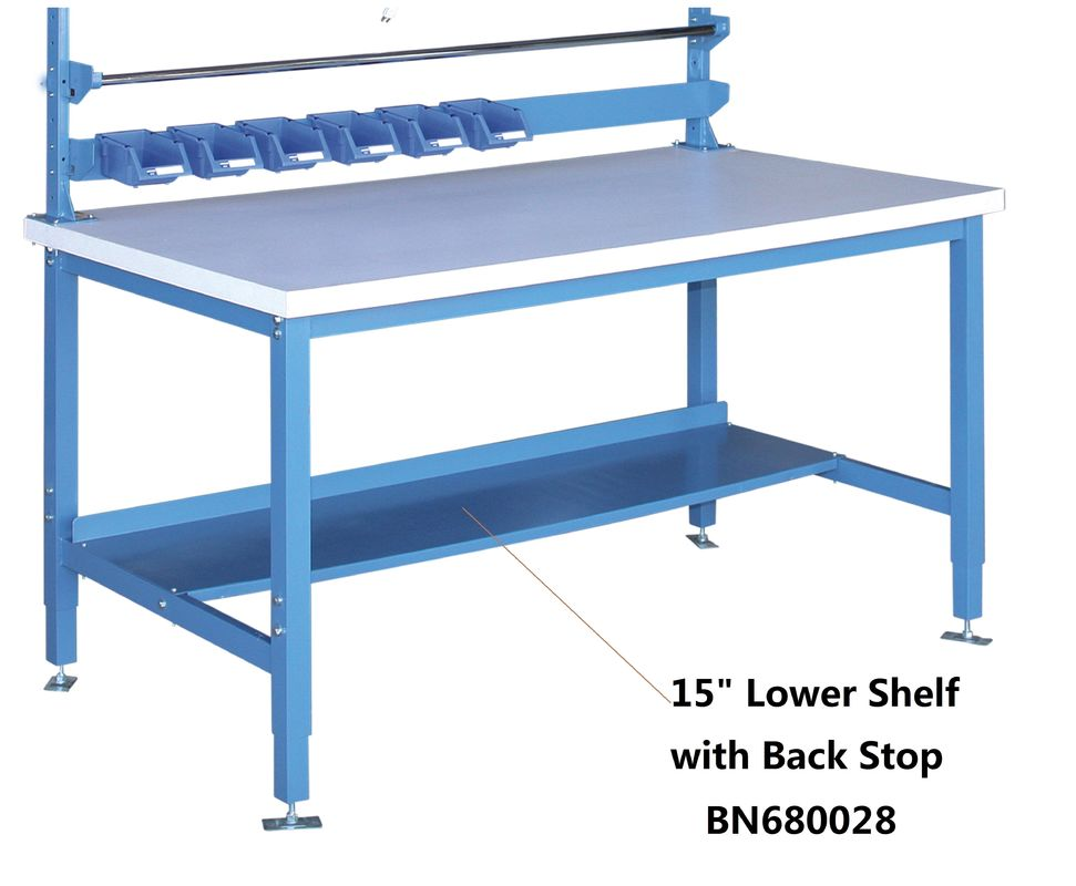 15 Inch Lower Shelf With Back Stop , Heavy Duty Steel Workbench High Strength supplier
