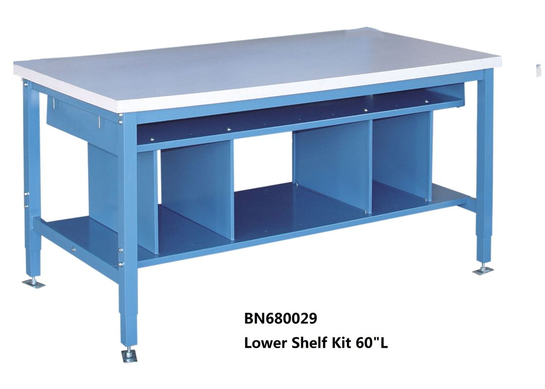 Multi Purpose Industrial Work Benches Lower Shelf Kit For Divider Space 60 Inch Wide supplier