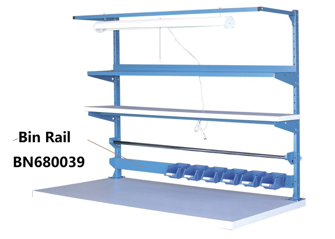 "Blue Industrial Work Benches Storage Bin Rails For Increasing Efficiency 48"" supplier"