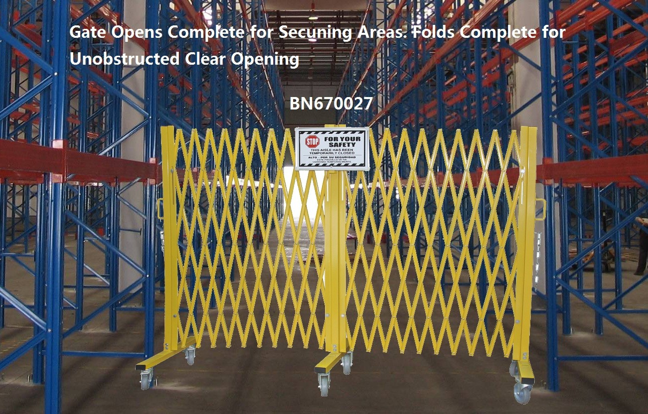 Yellow Folding Barrier Gate Accordion Safety Barriers Max