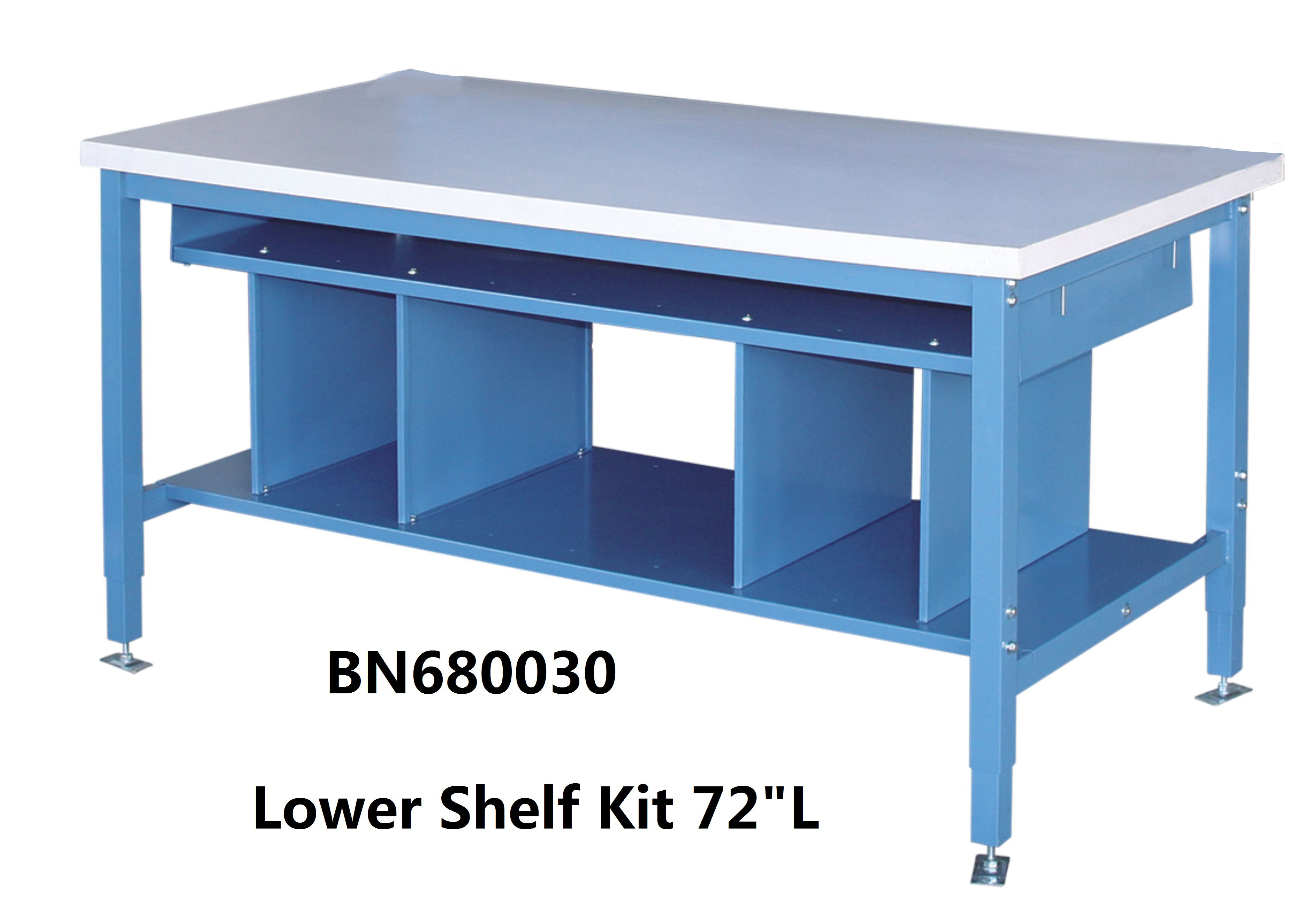 Multi Purpose Industrial Work Benches Lower Shelf Kit For Divider Space 72  Inch Wide