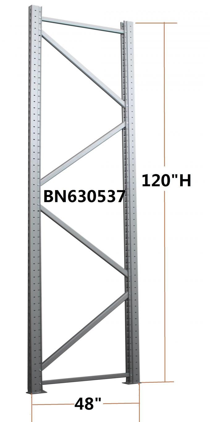Commercial Heavy Duty Steel Storage Racks Bolt Connect Upright Frame 4 * 10 Feet