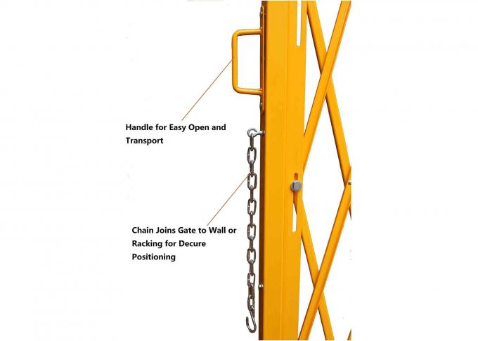"Yellow Folding Barrier Gate Accordion Safety Barriers Max Opening 20' X 52 ½"" High"